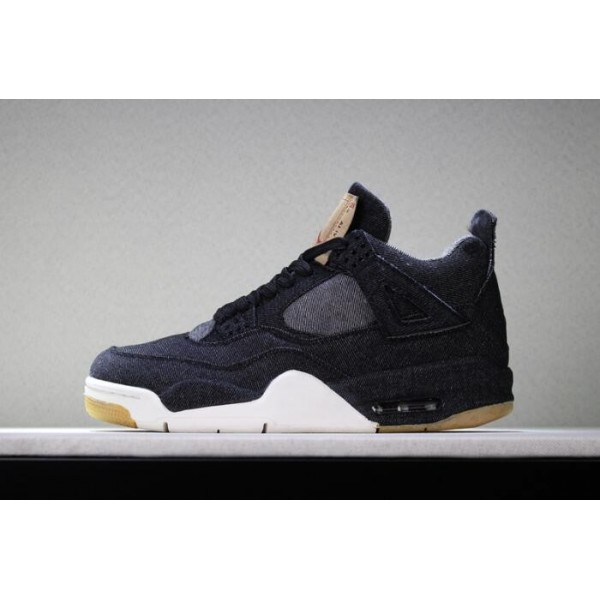 Men Levis x Air Jordan 4 Black Denims Basketball Shoes