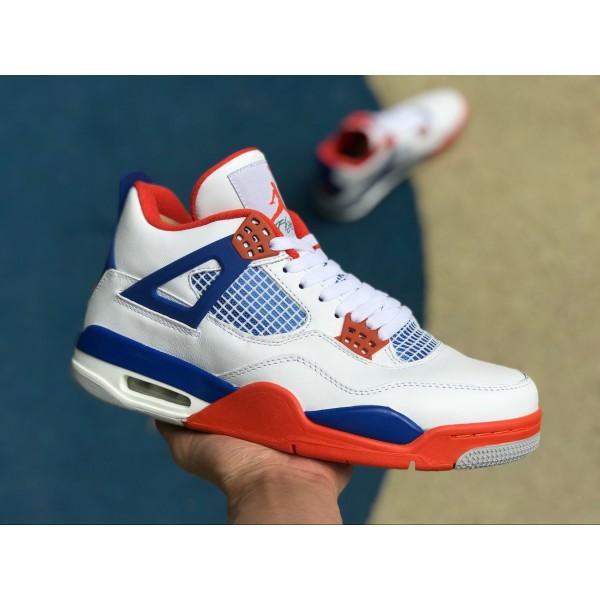 Men Air Jordan 4 Custom Knicks White Royal Blue-Orange