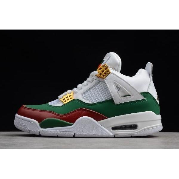 Men Air Jordan 4 GG White Green-Red-Gold