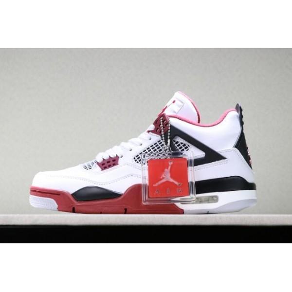 Men Air Jordan 4 Retro Fire Red White Varsity Red-Black