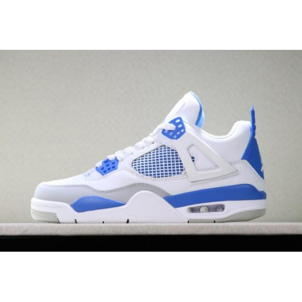 Men Air Jordan 4 OG White Neutral Grey-Military Blue