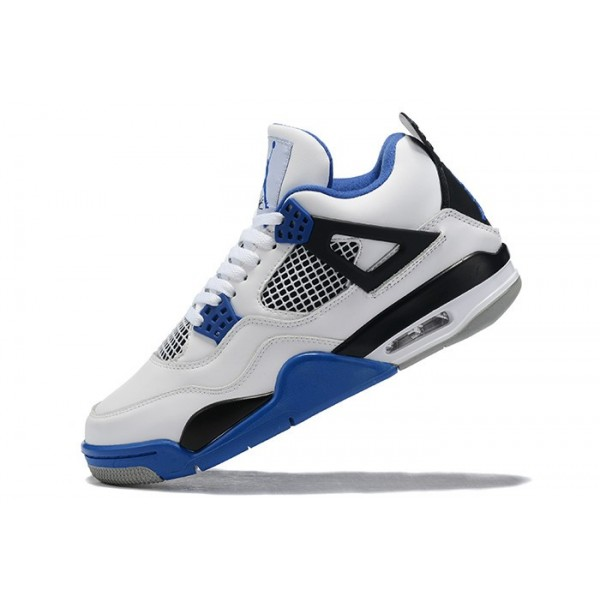 Men Air Jordan 4 White Royal Blue-Black Sneakers