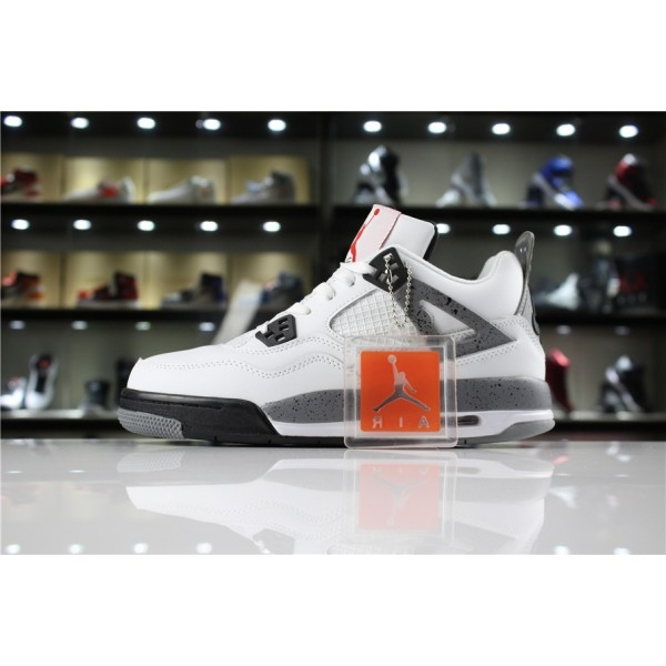 Men/Women Air Jordan 4 89 OG White Cement White Fire Red-Black-Tech Grey