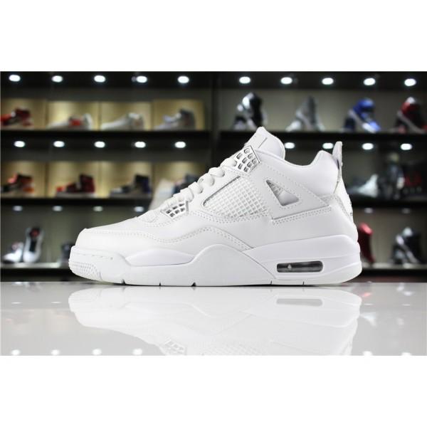 Men/Women Air Jordan 4 IV Pure Money White Metallic Silver