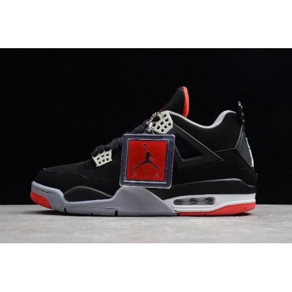Men Air Jordan 4 Retro Bred Black Red 308497-089