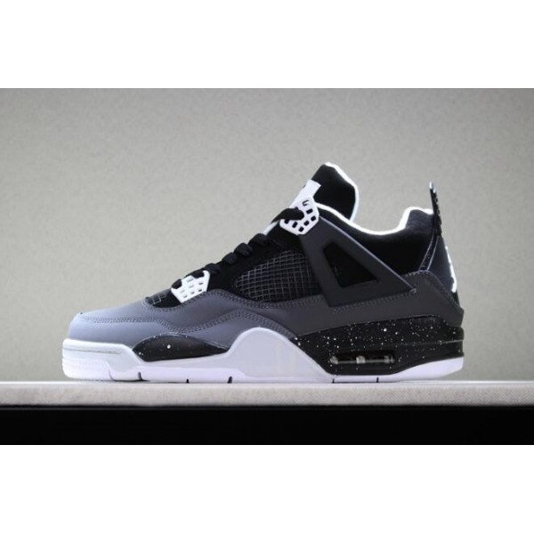 Men/Women Air Jordan 4 Retro Fear Stealth Black-White Shoes