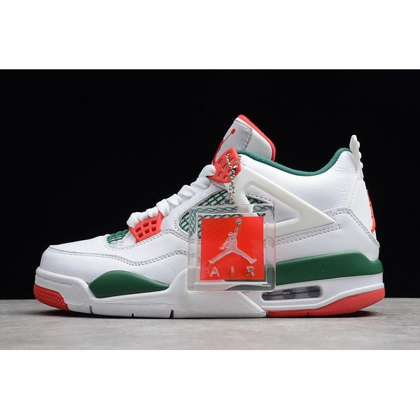 Men Air Jordan 4 Retro NRG White Gorge Green-Varsity Red