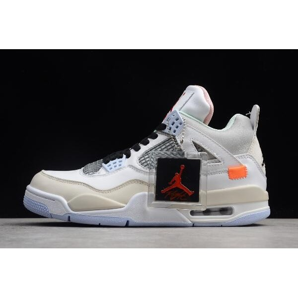 Men Off-White x Air Jordan 4 Encore Han Yubai Light Beige Grey