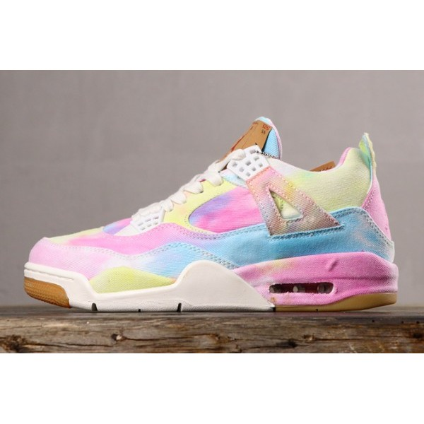 Men Custom Levis x Air Jordan 4 NRG Tie Dye Canvas Multi-Color