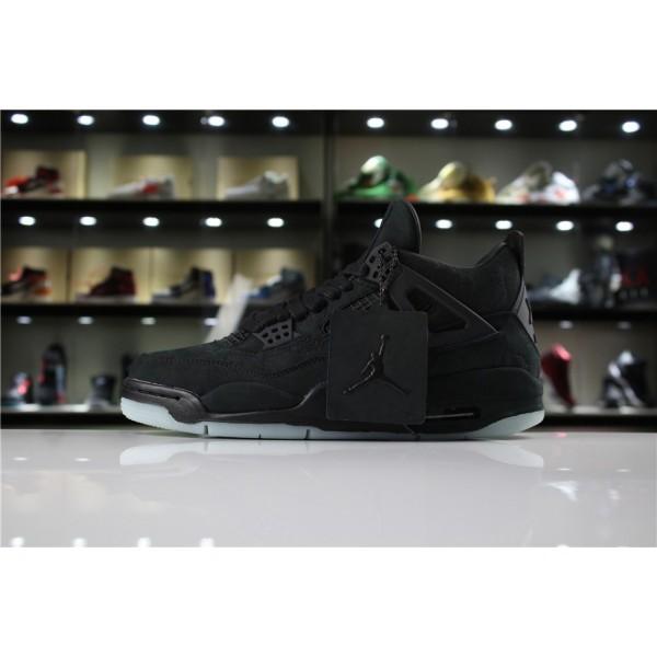 Men KAWS x Air Jordan 4 Retro Black Black-Clear Glow
