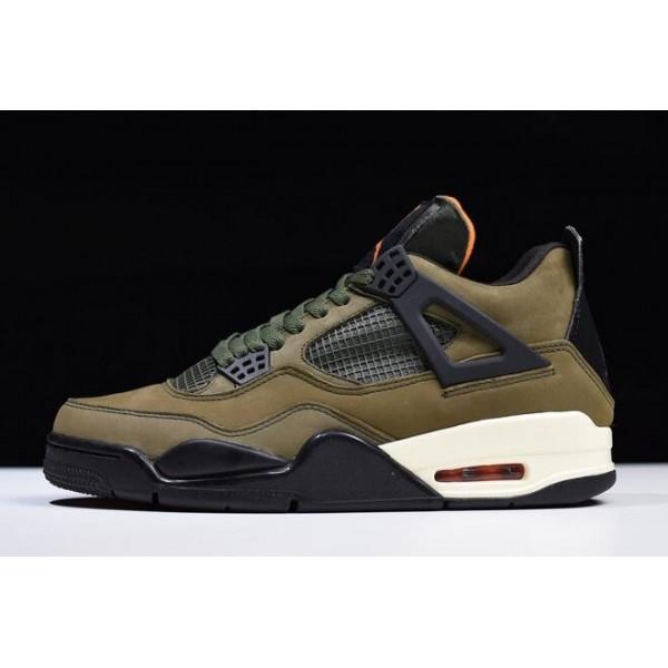 Men Mens Air Jordan 4 Retro Undefeated Olive Green Black-Orange