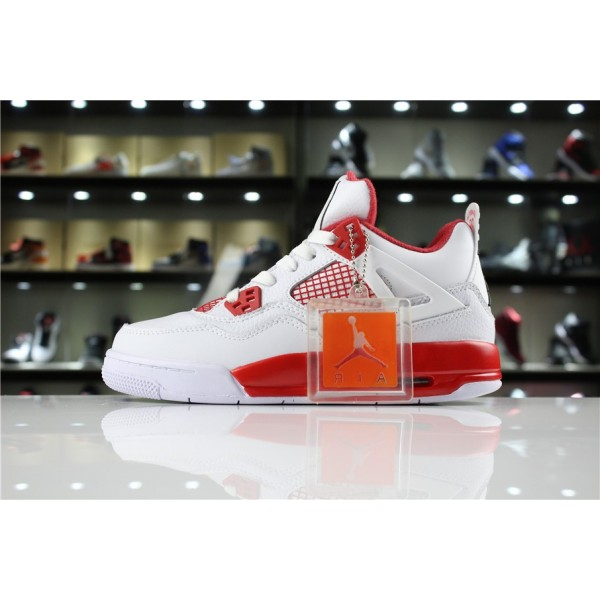 Men/Women New Air Jordan 4 Retro Alternate 89 White Black-Gym Red