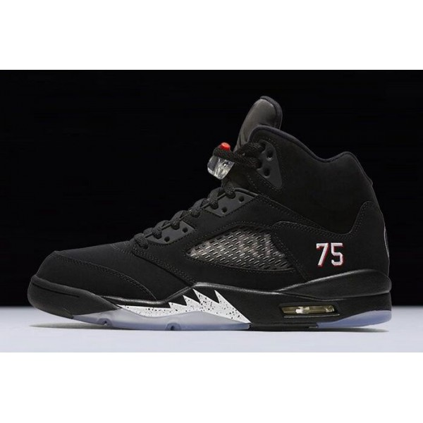 Men Air Jordan 5 Paris Saint-Germain Black White-Challenge Red