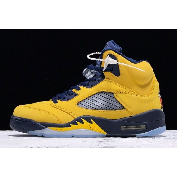 Men Air Jordan 5 Michigan Amarillo College Navy