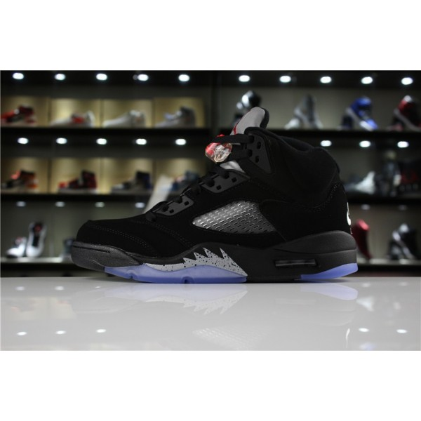 Men/Women Air Jordan 5 Retro OG Metallic Black Black Fire Red-Metallic Silver