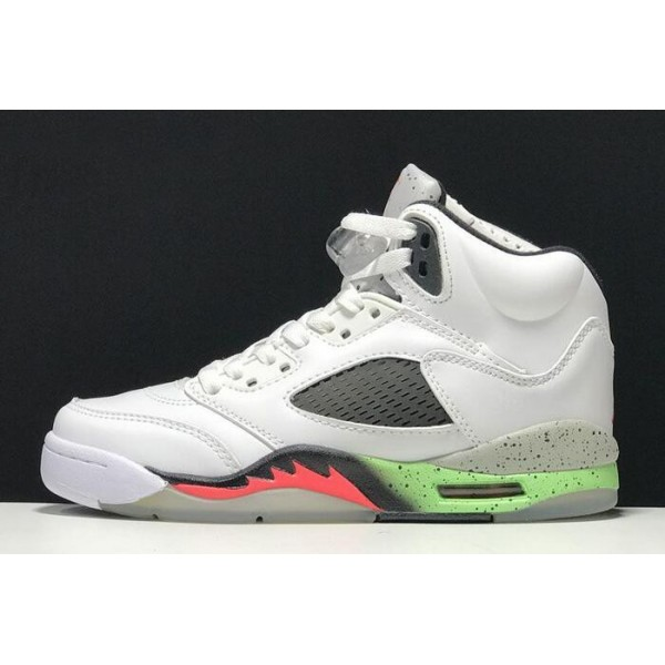 Men/Women Air Jordan 5 Retro ProStars White Infrared 23-Light Poison Green-Black