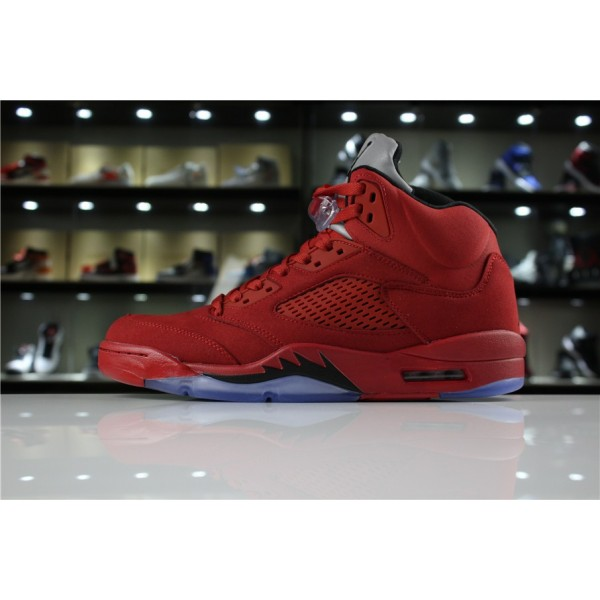 Men Air Jordan 5 Red Suede University Red Black