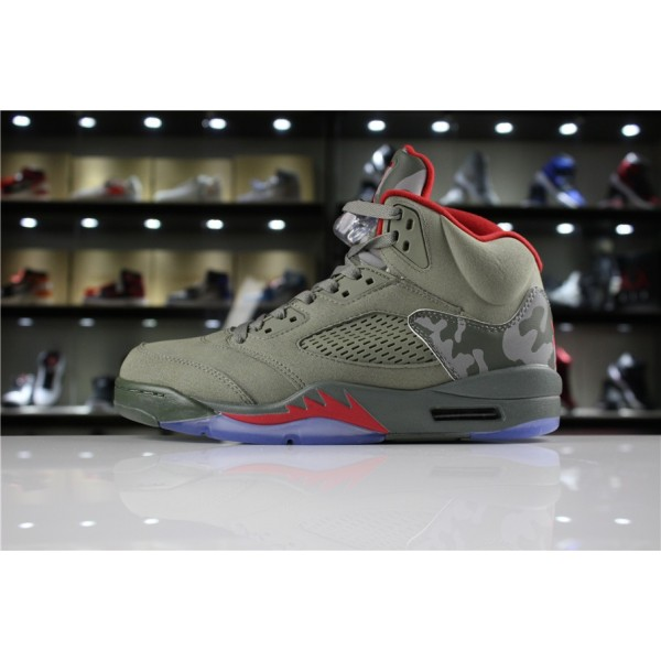 Men/Women Air Jordan 5 Camo Dark Stucco University Red