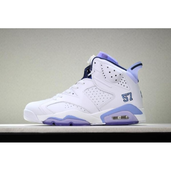 Men Air Jordan 6 UNC Championship PE White Blue