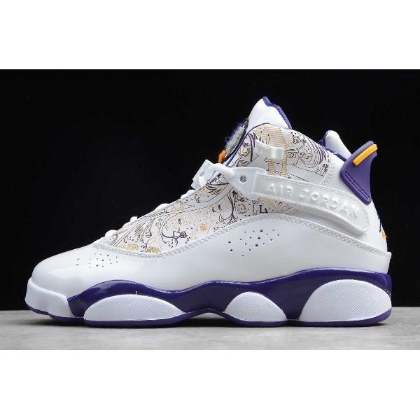 Men/Women Air Jordan 6 Rings Hollywood White Purple