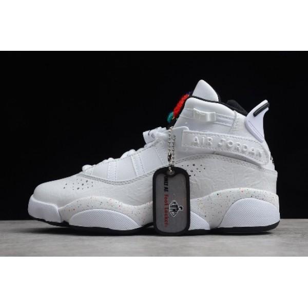 Women Air Jordan 6 Rings Paint Splatter Confetti White Black