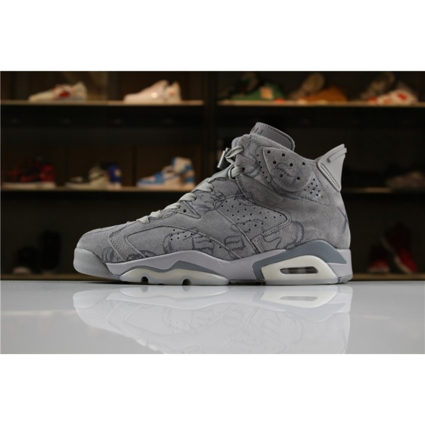 Men KAWS x Air Jordan 6 DIY Personal Tailor Cool Grey