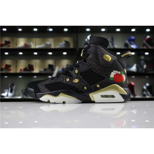 Men Air Jordan 6 CNY Black Summit White-Metallic Gold