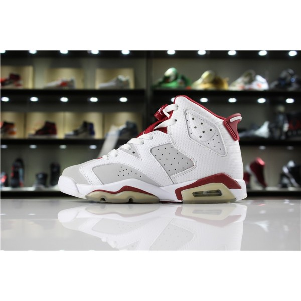 Men/Women Air Jordan 6 VI Hare White Pure Platinum-Gym Red