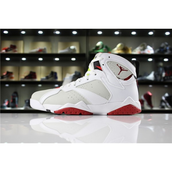 Men/Women Air Jordan 7 Retro Light Silver Tourmaline True Red