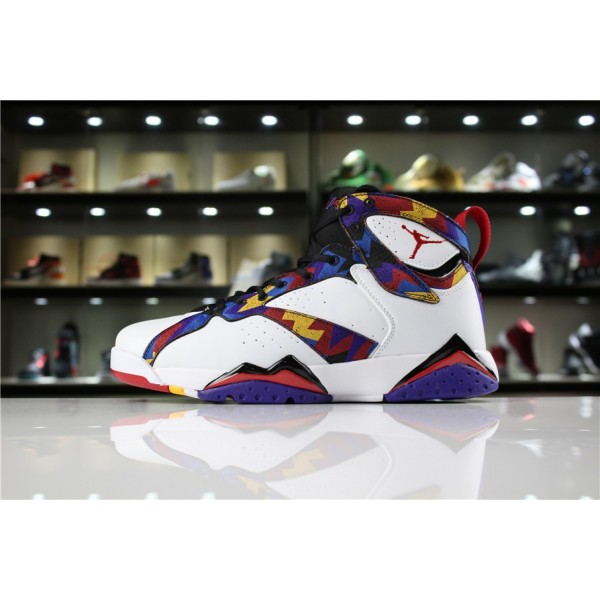 Men/Women Air Jordan 7 Retro White University Red Black