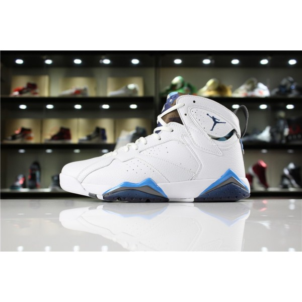 Men/Women Air Jordan 7 Retro French Blue White Blue Flint Grey