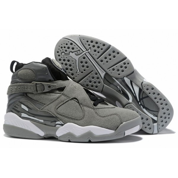 Men Air Jordan 8 Cool Grey Black White