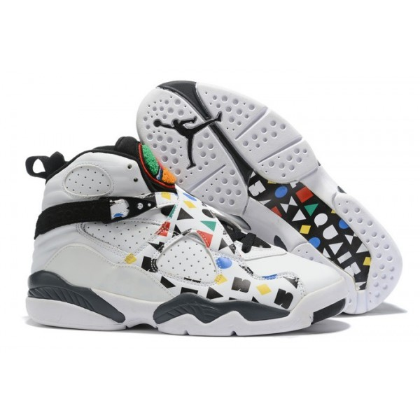 Men Air Jordan 8 Quai 54 White Black Multi Color
