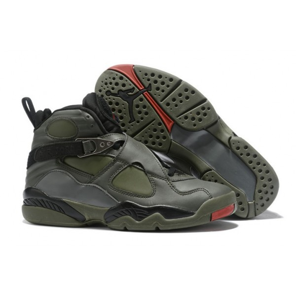 Men Air Jordan 8 Retro Sequoia Black Wolf Grey
