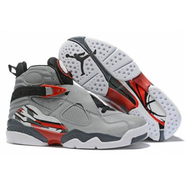 Men Air Jordan 8 Wolf Grey Black Red White