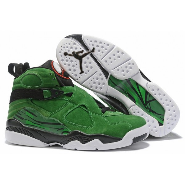 Men Air Jordan 8 Green Black White Shoes