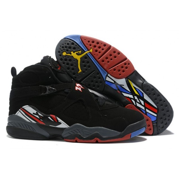 Men Air Jordan 8 Retro Playoffs Black Varsity Red White