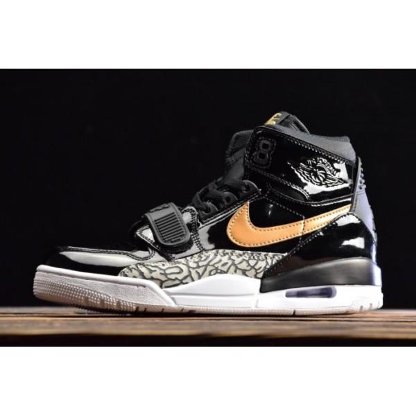 Men Nike Air Jordan Legacy 312 Black Gold Patent
