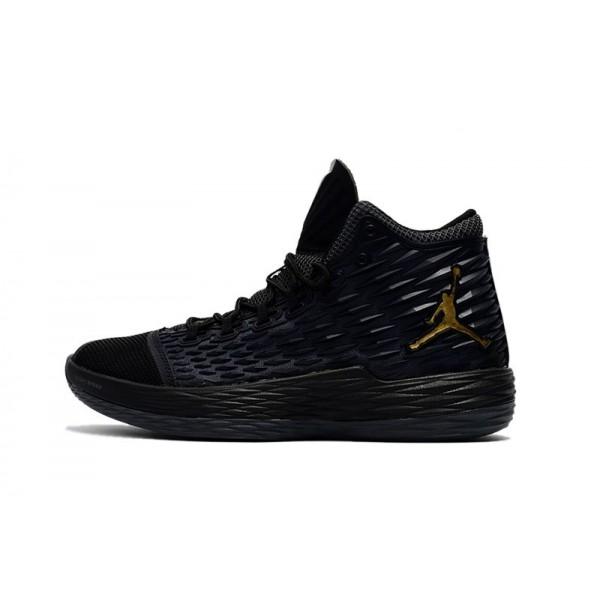 Men Jordan Melo M13 Black and Metallic Gold