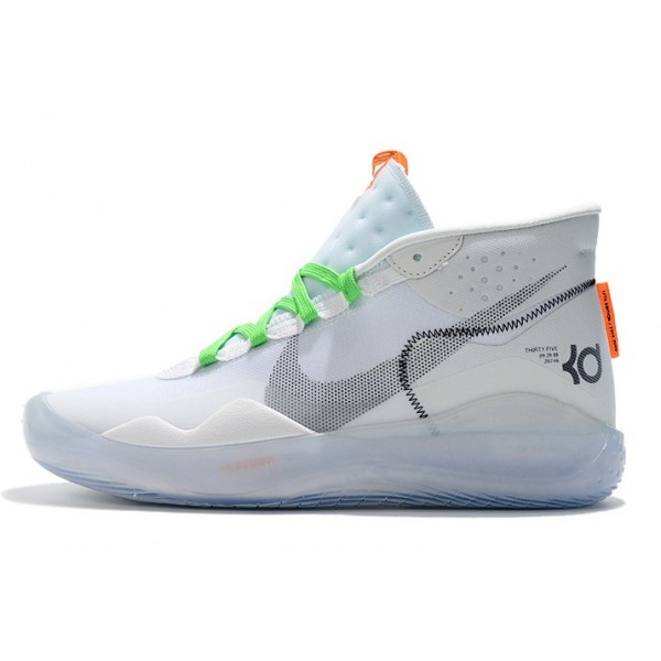 Men Nike KD 12 Shoes White-Volt-Black