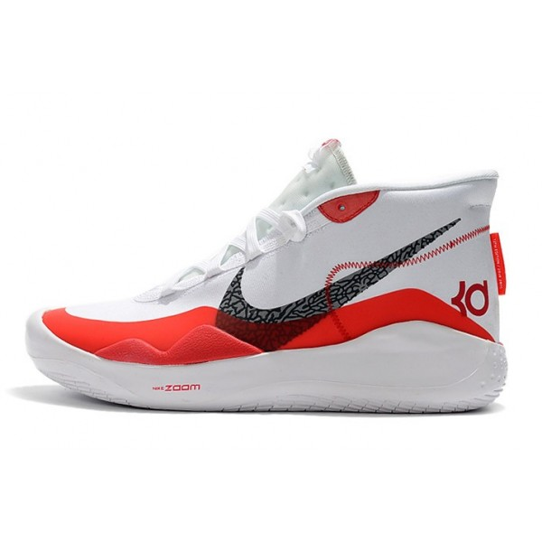 Men Nike KD 12 White-Gym Red-Black