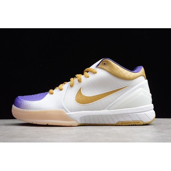 Men Nike Zoom Kobe 4 White-Metallic Gold-Purple
