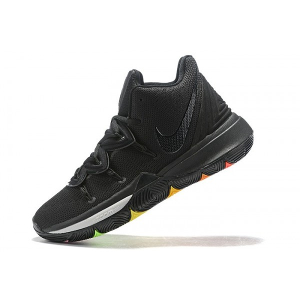 Men Grade School Nike Kyrie 5 Black Rainbow Soles