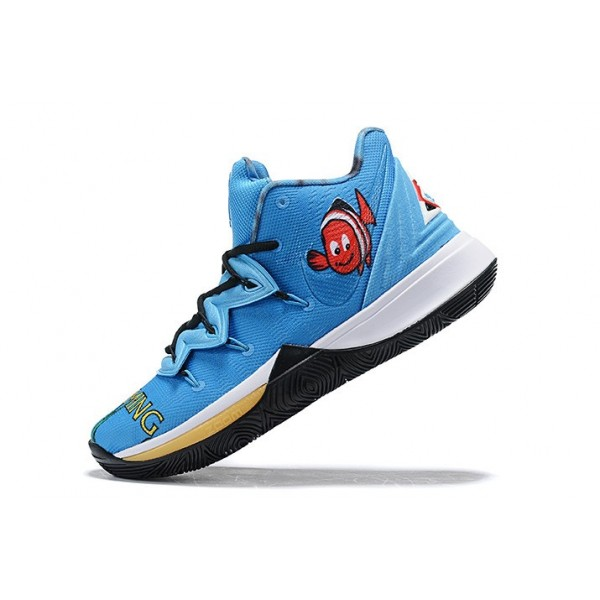 Men New Nike Kyrie 5 Blue Gold-Black-White