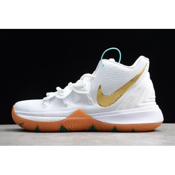 Men New Release Nike Kyrie 5 Shoes White Gum-Metallic Gold