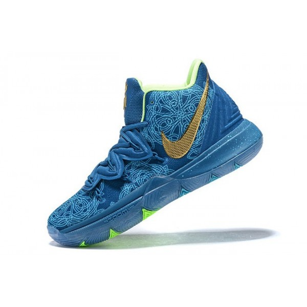 Men Nike Kyrie 5 Blue-Green-Metallic Gold