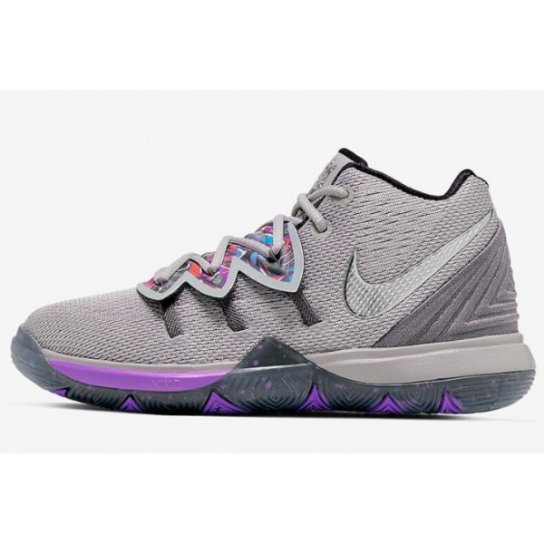 Men Nike Kyrie 5 Graffiti Atmosphere Grey-Metallic Silver