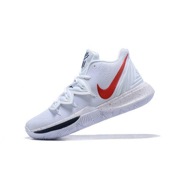 Men Nike Kyrie 5 White-Red-Navy Blue