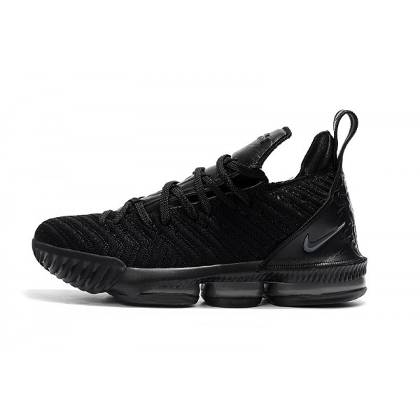 Men 2018 All Black Nike LeBron 16 Triple Black