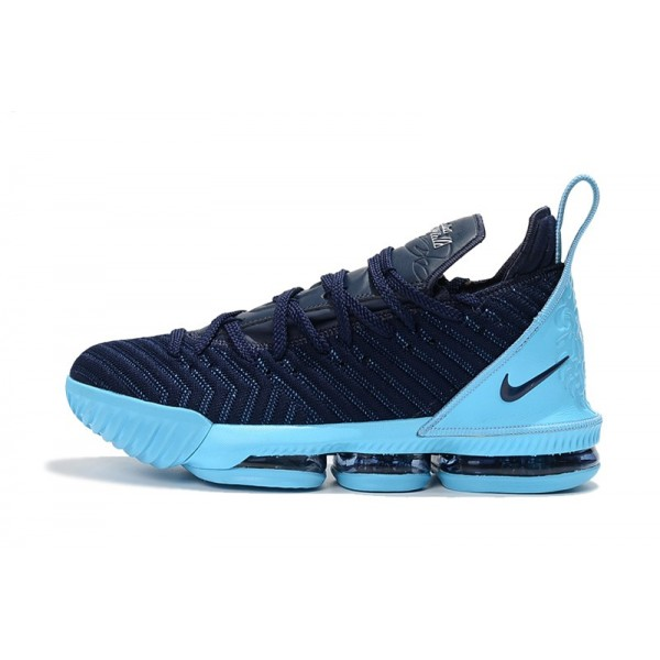 Men 2018 Nike LeBron 16 Navy Blue-Jade-White